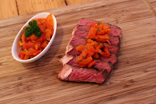 Ribeye-Steak mit Peperonata